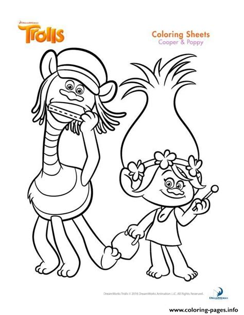 Print Cooper And Poppy Trolls Coloring Pages Kolorowanki Princess Poppy Coloring Page Free Coloring Sheets