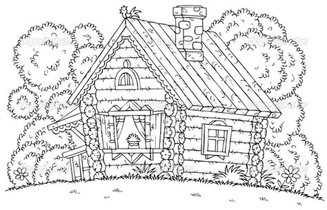 log cabin coloring page az coloring pages
