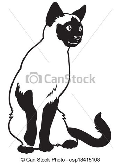 Feline clipart siamese - Pencil and in color feline ... Free Clipart Of Siamese Cats