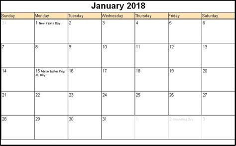 january 2018 calendar template editable printable january 2018 calendars editable printable