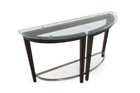 Glass Sofa Table Modern Tempered Glass Top Contemporary Sofa Table In Hazelnut Mathis Brothers Furniture