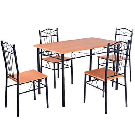 metal frame table and chairs tangkula steel frame dining set table and chairs kitchen