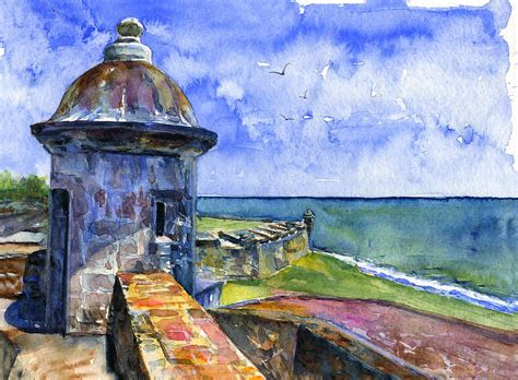 Puerto Rican Home Decor by Fort San Juan Puerto Rico Painting By John D Benson