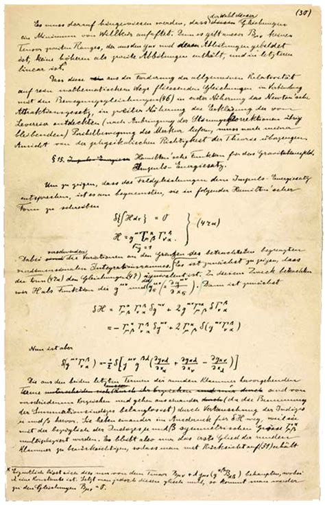 Albert Einstein Essays by A Manuscript Page Of Albert Einstein S Paper On The General Theory Of Relativity With