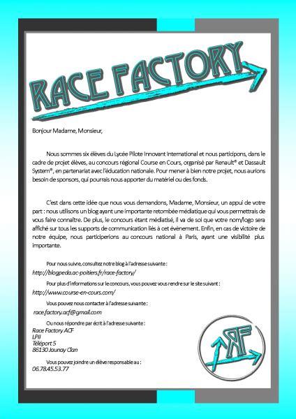 Sponsor Letter En Francais lettre de sponsors pour course en cours race factory