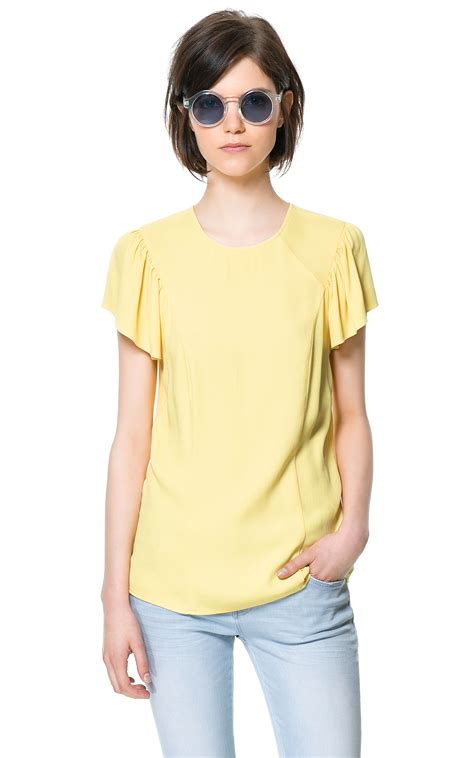 sleeve frilled top zara top with frilled sleeves in white yellow lyst