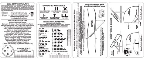 printable survival instructions esee survival card set