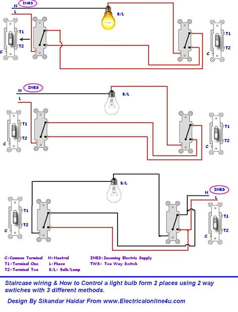 3 way lighting circuit wiring diagram circuit and