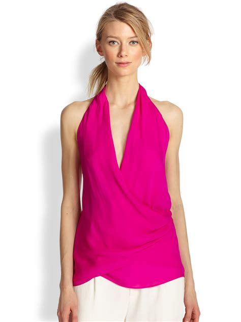 Fuschia Top haute hippie silk surplice halter top in purple fuschia