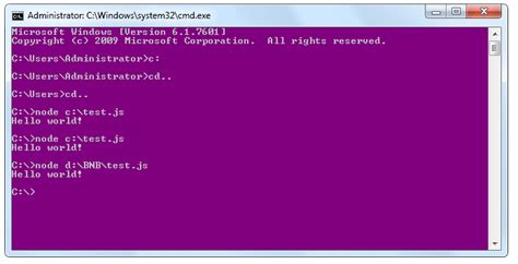 node js command line tutorial run hello world from node js command prompt in windows 7
