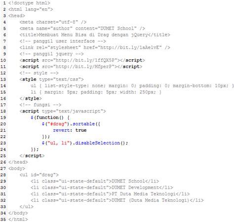 Membuat Query Di Javascript   membuat menu bisa di drag dengan jquery
