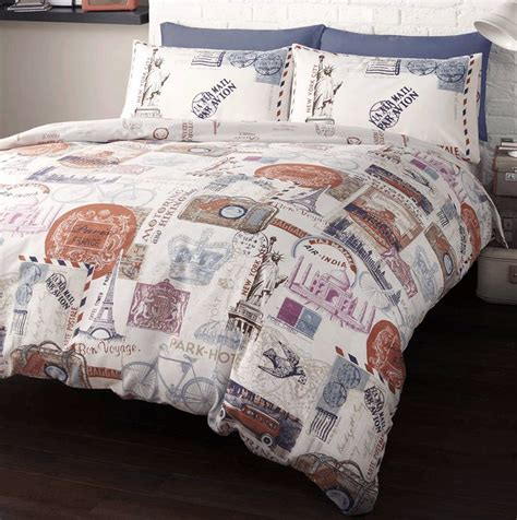 travel bedding around the world stamps travel single duvet quilt cover