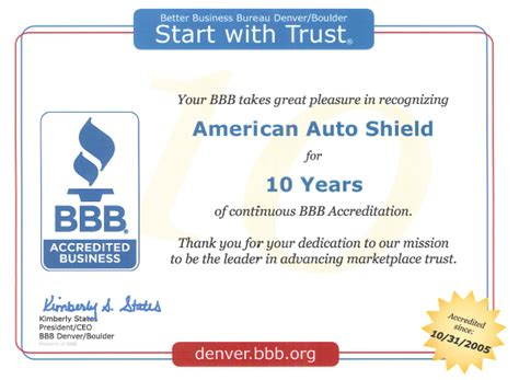 better business bureau recognition american auto shield