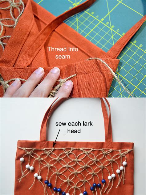 Macrame Bags Tutorials - diy tote makeover with macrame fringe