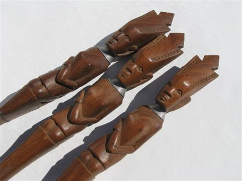 Nice Kitchen Knives african tribal art hand carved native wood forks amp spoons
