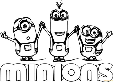 minions kevin coloring pages minion kevin with two minions coloring page free