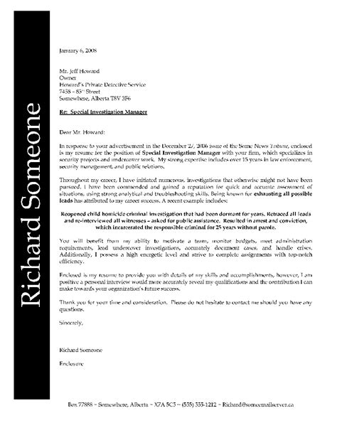 cover letter exles for enforcement enforcement cover letter exle