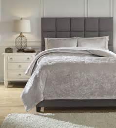 rosemaria light gray queen comforter set from ashley