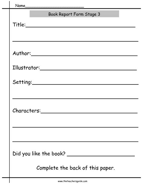Simple Book Report Forms by Book Report Worksheets From The S Guide