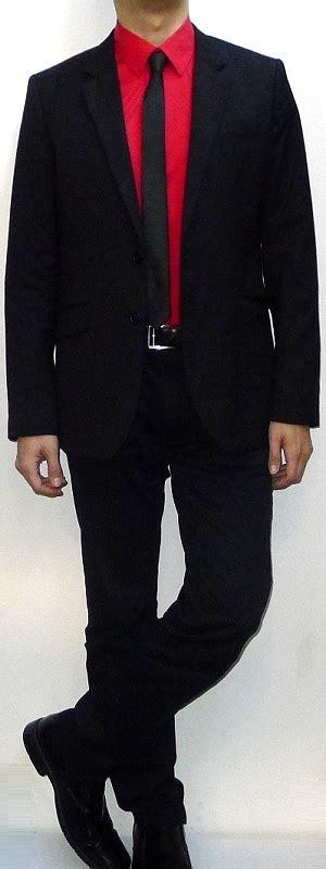 black suit red shirt with vest black suit blazer red dress shirt black tie black belt