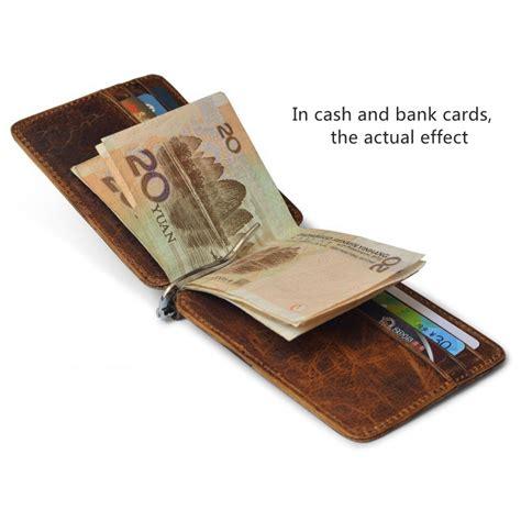 dompet kartu kulit dengan money clip besi penjepit uang