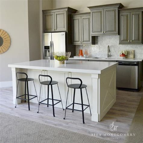 kitchen island panels gray kitchen cabinets with ivory island transitional
