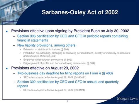 Section 302 Of The Sarbanes Oxley Act by Ppt Corporate America In Crisis Sarbanes Oxley Act Of