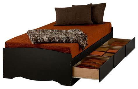 twin xl mate s platform storage bed with 3 drawers prepac black twin xl mate s platform storage bed with 3