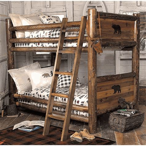 black forest home decor rustic beds twin over twin barnwood bunkbed with bear