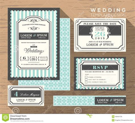 wedding invitation set design template stock image image