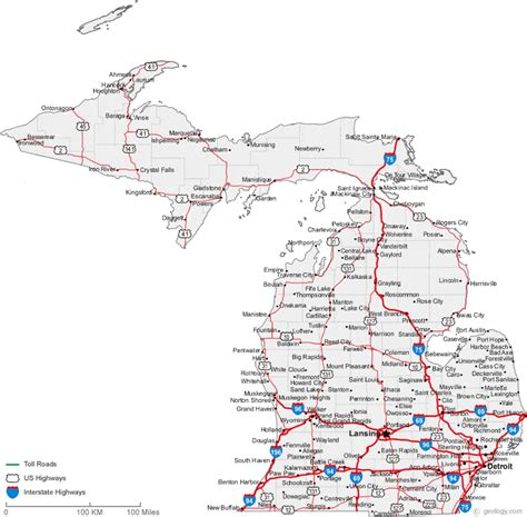 printable road maps of michigan map of michigan cities michigan road map