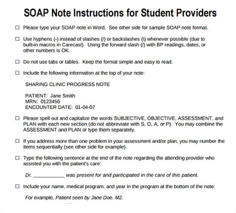 soap note template sle subjective objective assessment planning note 7