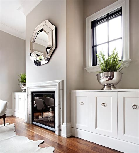 Built In Cupboards With Mirror Mirror Fireplace Transitional Living Room The