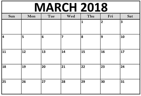 printable calendar for march 2018 free 10 blank march 2018 calendar printable template