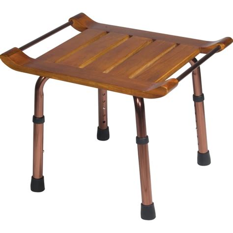 height adjustable bench adjustable height teak bath bench stool