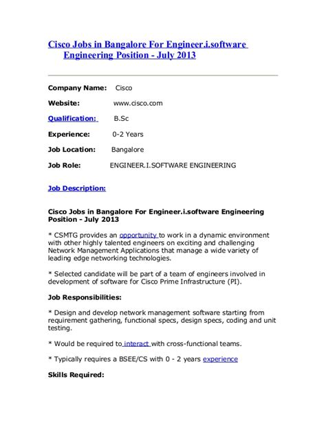 Software Engineer Stanford Mba Linkedin by Cisco In Bangalore For Engineer I Software