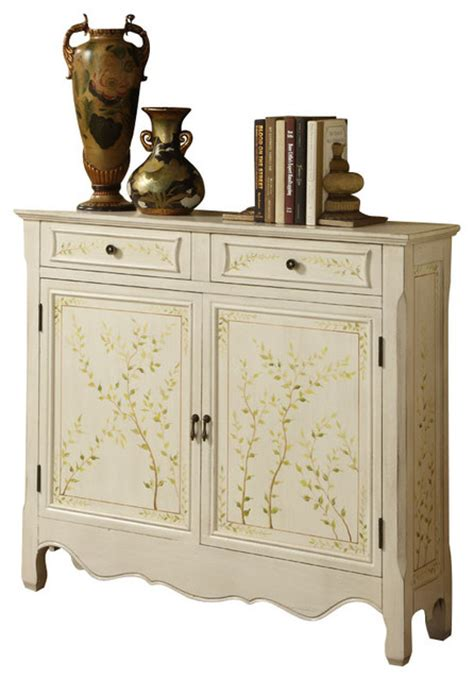 Accent Console Cabinet by New Trendy White Painted Two Drawers Doors Accent