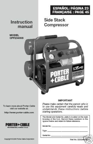 porter cable air compressor instr manual cpf23400s ebay