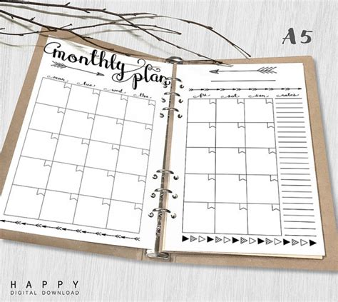 monthly planner printable a5 printable planner insert monthly planner a5 monthly