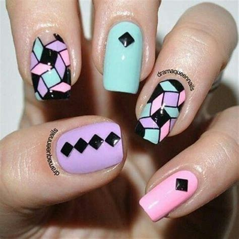 geometric pattern nails pastel pink green black geometric nail design nail art