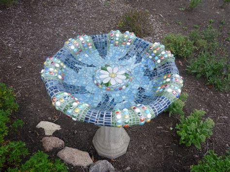 concrete bird bath  stained glass  glass beads