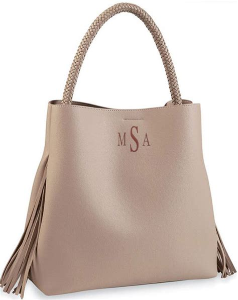 fringed vegan leather tote bag monogram