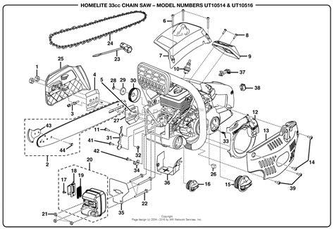 homelite chainsaw parts diagram homelite 33cc chain saw ut 10516 parts diagram for general