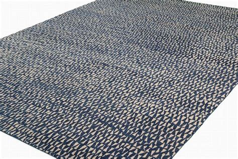 blue and white geometric rug blue and white wool area rug with geometric pattern for sale at 1stdibs