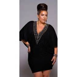 Beaded v neck batwing plus size dress black monif c thisnext