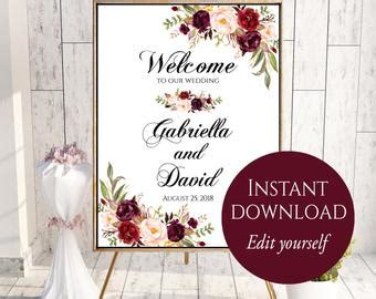 Welcome Wedding Sign Etsy Welcome To Our Wedding Template
