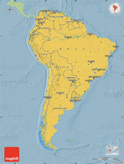 south america map colored savanna style map of south america single color outside