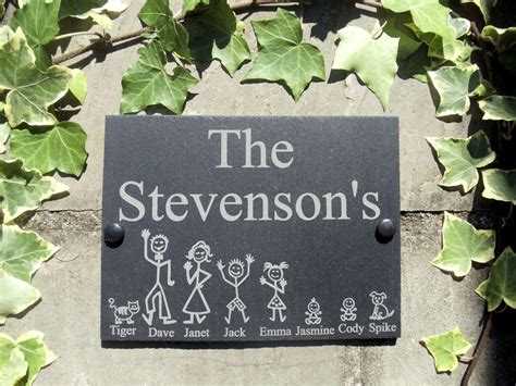 name plaques for house personalised slate stick family house name or number door sign plaque 20 x 15cm ebay