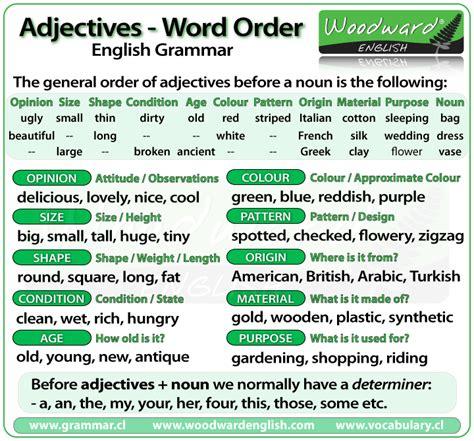 adjectives word order english grammar