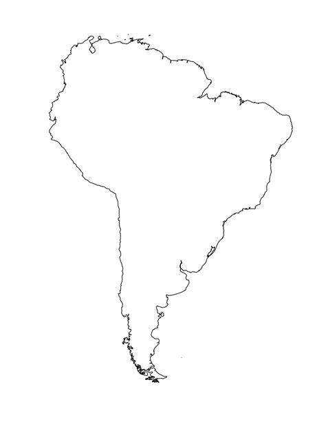 America Outline by Blank Map Of South America To Label Images